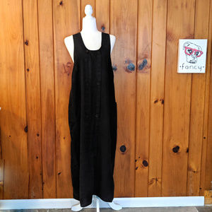 Black Flax Linen Pinafore double button Small